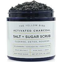 Natural Activated Charcoal Body & Face Scrub. Exfoliating Dead Sea Salt & Sugar...