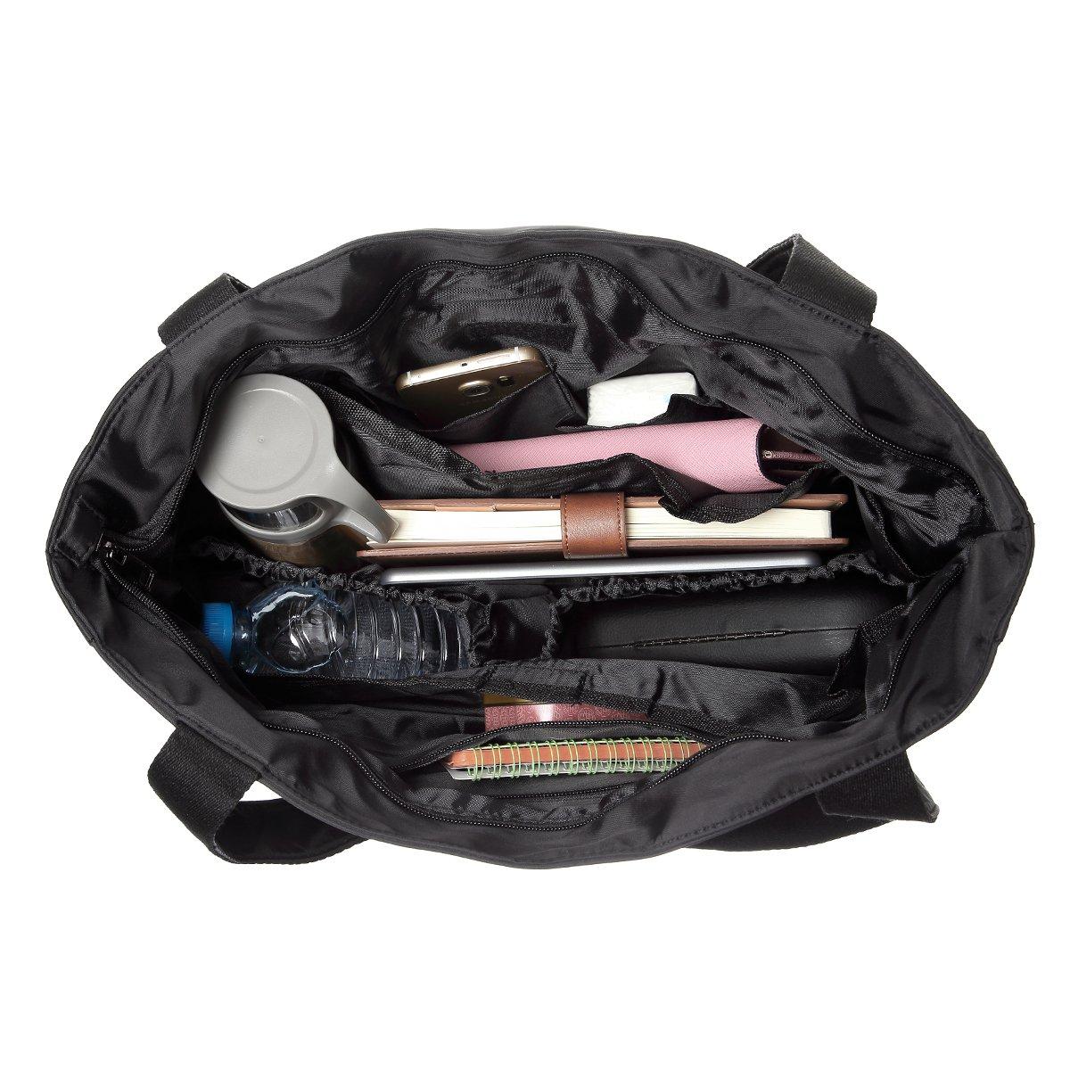 TENXITER Women Fashion Large Tote Shoulder Handbag Waterproof Tote Bag Multi-function Nylon Travel Shoulder (Black)