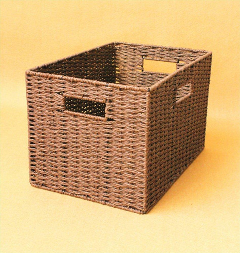 WXFC Caja de Almacenamiento de Paja Caja de Almacenamiento Cesta sin Tapa Caja de Acabado de Armario Juguetes de Ropa Cesta de Tejido Simple, White