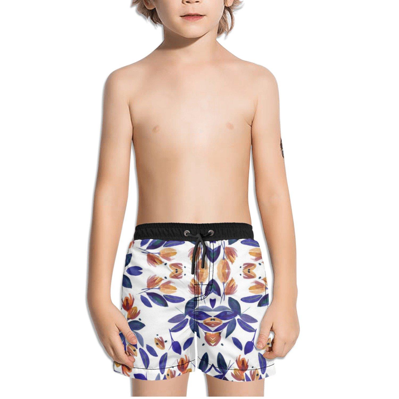 Ouxioaz Boys Swim Trunk Watercolor Flowers Painting Beach Board Shorts