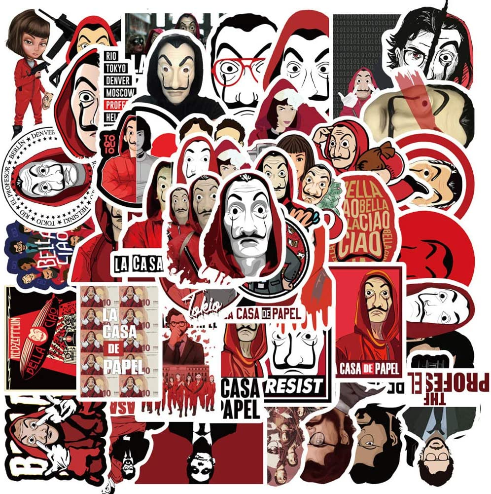 The TV Show Money Heist Stickers 50 Pack for Water Bottles,Waterproof Laptops Sticker Vinyl Decal Sticker for Phone,Computer,Hydro Flasks,Cars,Bicycles