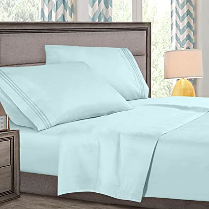 King Size Bed Sheets Set Light Blue, Highest Quality Bedding Sheets Set On  Amazon,