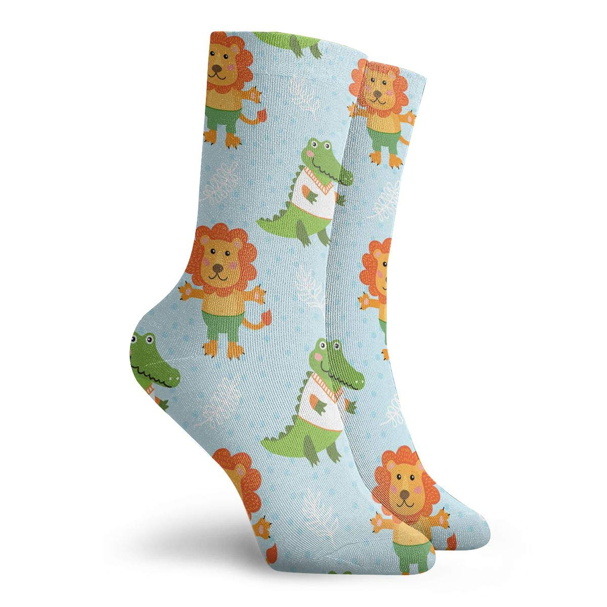 Cute Cartoon Crocodile And Lion Fashion Dress Socks Short Socks Leisure Travel 11.8 Inch