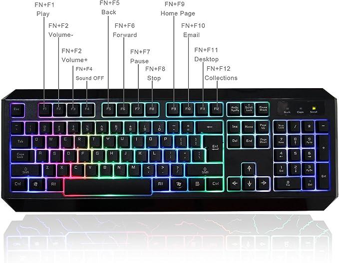 mftek USB Rainbow Arco Iris LED Backlit Luminous illuminated Gaming Teclado para Laptop Desktop Gamers with mouse pad (13 inch * 9 inch) arcoiris