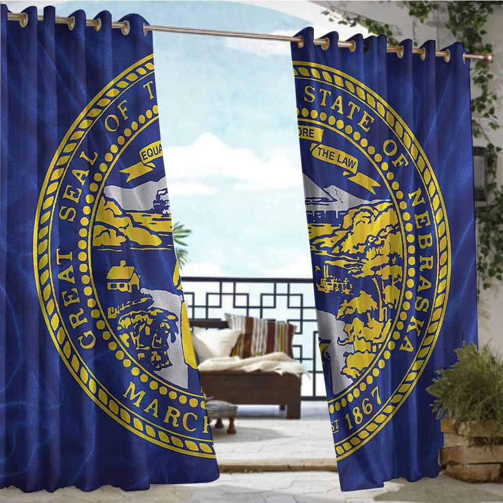 crabee Outdoor Privacy Curtain for Pergola American,State of Nebraska Equality,W96 xL108 for Front Porch Covered Patio Gazebo Dock Beach Home
