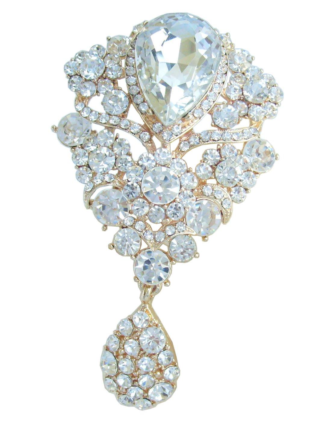 Sindary Wedding 3.94'' Austrian Crystal Flower Brooch Pin Pendant BZ6024 (Gold-Tone Clear)