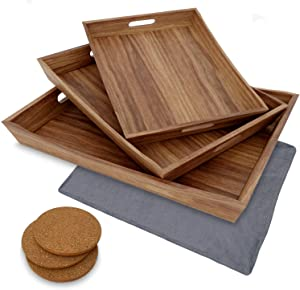 Rustic Wood Serving Tray Set of 3 - Large Serving Tray with Handles - Wood Tray - Coffee Table Tray - Food Tray - Wooden Tray - Ottoman Tray Large Great for Coffee & Food (Acacia Wood Trays)