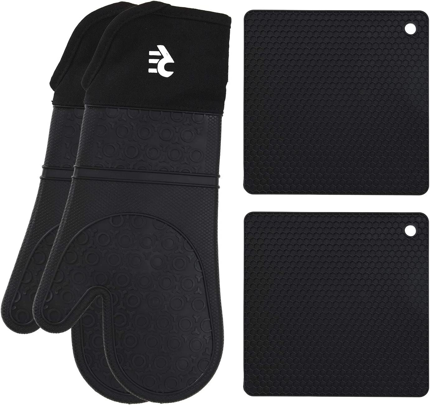 Rodri Essentials Extra Long Professional Silicon Kitchen Oven Mitts with Quilted Liner. (Black)