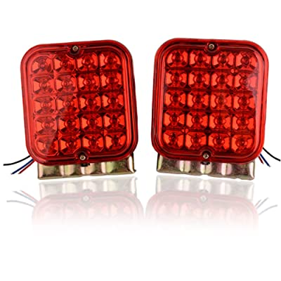 YITAMOTOR Square Red Trailer Lights, 20 LED Waterproof Trailer Brake Lights Compatible with 12v Trailer Truck Boat (Pack of 2): Automotive