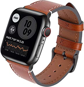 Fullmosa Watch Bands Leather Compatible with Apple Watch Band 40mm 44mm for Series 6/SE/5/4/3/2/1 Unique Design Vintage Quick Release Men Women Straps