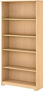 Bush Furniture Cabot Tall 5 Shelf Bookcase, Natural Maple