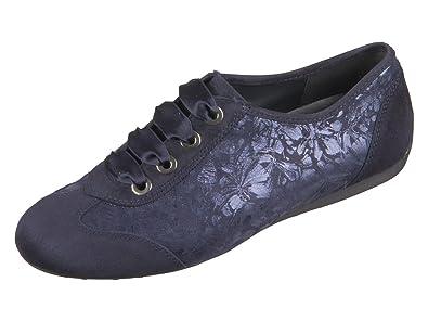 Semler Nele N6106-987-080 Damen Schnürschuh Sportiv Weite G Samtchevrau Flowerprint Blau (Midnightblue), 38 EU/5 UK