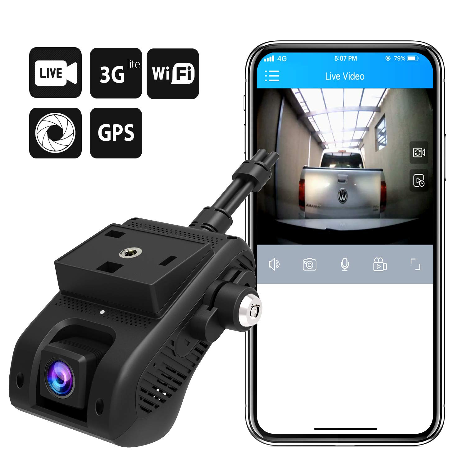 Lncoon 3G//WiFi Car Dash Camera 1080P with 3G Live Video Streaming Vibration//SOS Alarm JC200 Dual Dash Cam Dashboard Camera DVR Recorder with Loop Recording//G-Sensor//Power Cutoff GPS Tracking