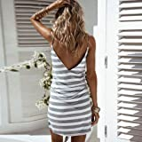 GONKOMA Women Striped Strap V-Neck Beach Dress