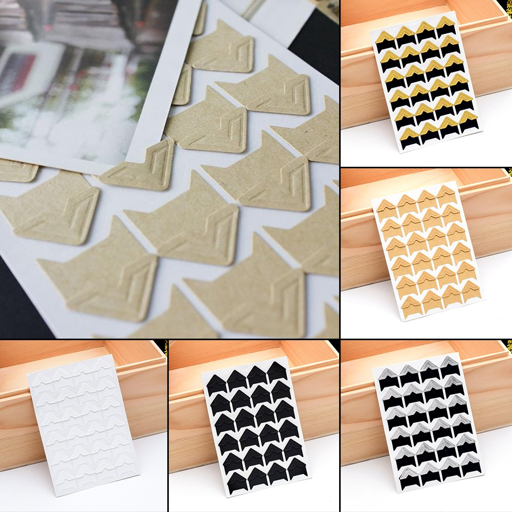 Silver 5 Sheets Photo Corners Self Adhesive Photo Mounting Sticker Paper Corner Stickers Scrapbook Albums Accessories for DIY Scrapbooking Picture Album Dairy Notebook Corner