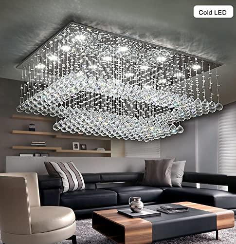 Modern Contemporary Crystal Chandelier for Living Room Rectangular Flush Mount Ceiling Lighting Fixture, H14 xW36 xDepth24 , 16 Cool White LED Lights