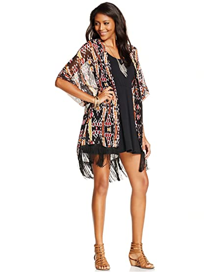Steve Madden Women's Ikat Long Sheer Kimono Cardigan Wrap, Black ...