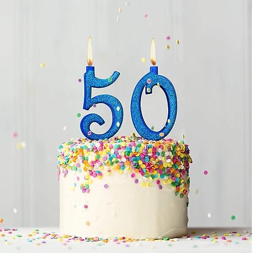 Party & Co. Velas para Tarta 50 años Fiesta de cumpleaños o Aniversario Ideal Tanto para Hombre como para Mujer - 12 cm Azul Brillante
