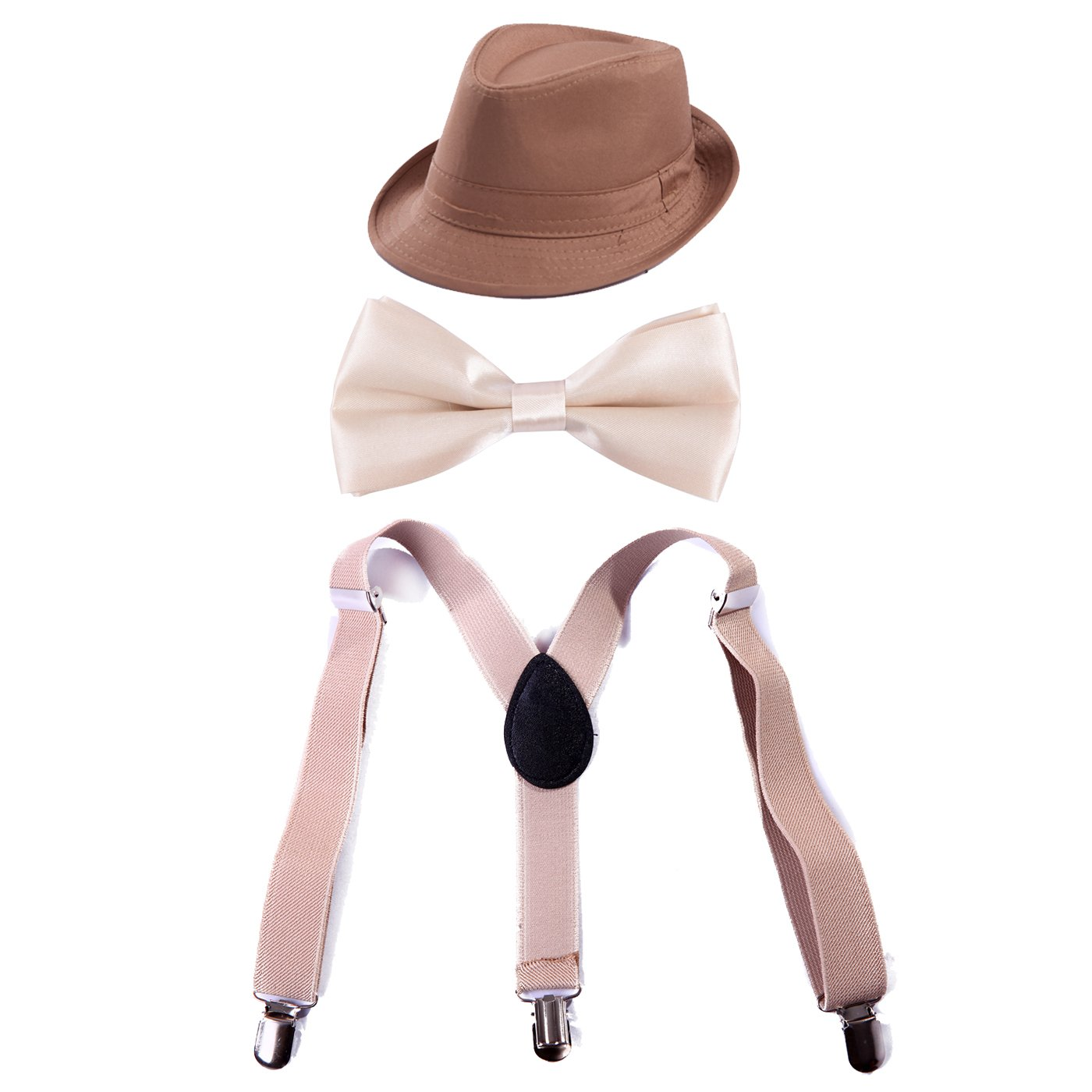 HDE Kid's Funky Design Solid Color Adjustable Elastic Clip Suspenders with Pre-tied Microfiber Neck Strap Bow tie and Short Brim Trilby Fedora Hat (Khaki)