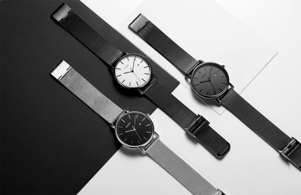 BUREI Men's Fashion Minimalist Wrist Watch Analog Deep Gray Date with Black Mesh Band by BUREI (Image #6)