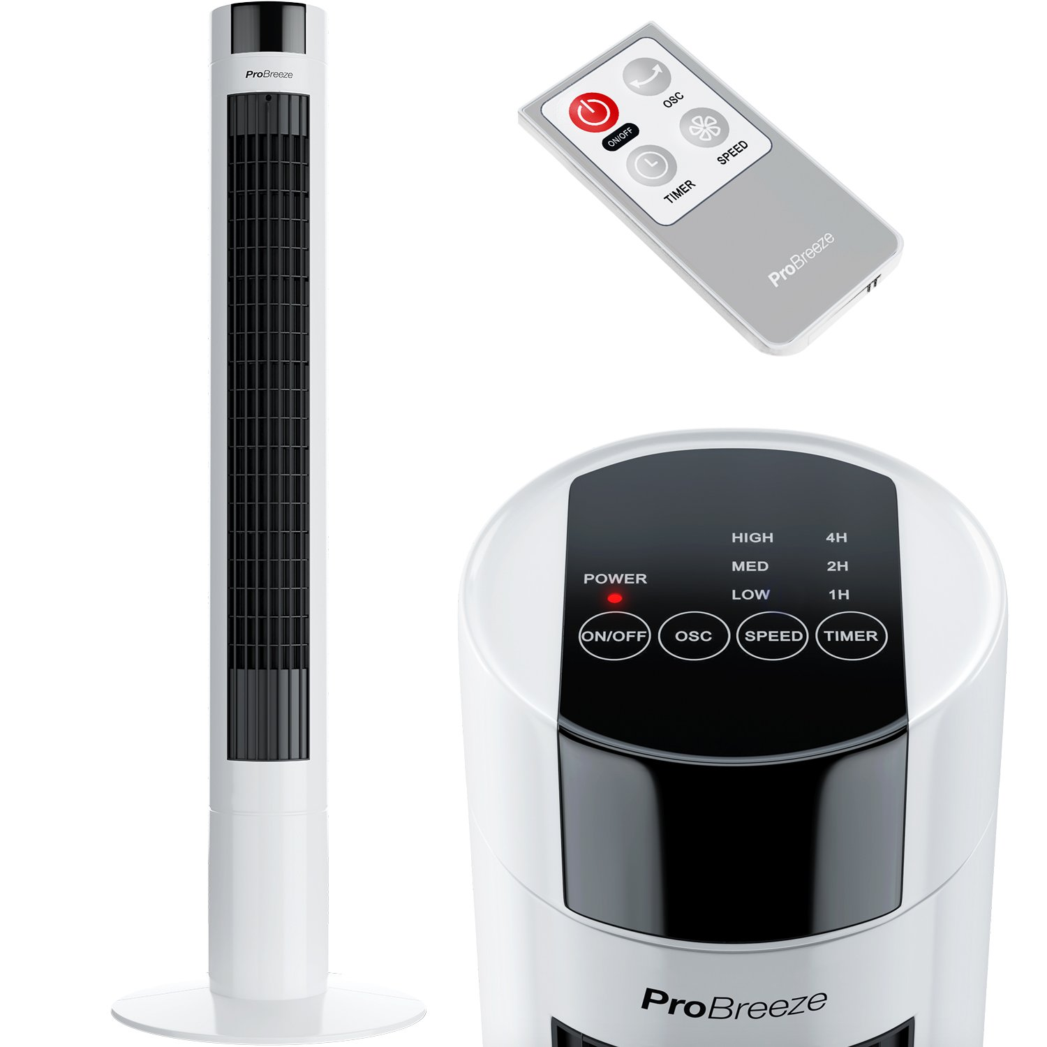 Pro Breeze Oscillating 40-inch Tower Fan with Remote Control and Timer for Home and Office