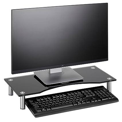 Soporte Alzador de Monitor de Cristal Curvo VonHaus para Ordenadores, Portátiles y TVs - 56