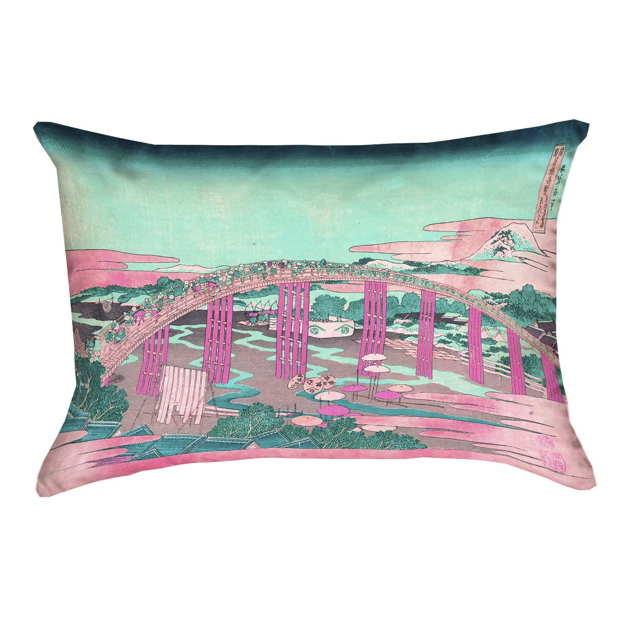 ArtVerse Katsushika Hokusai 16 x 16 Poly Twill Double Sided Print with Concealed Zipper /& Insert Japanese Bridge in Pink and Teal Pillow