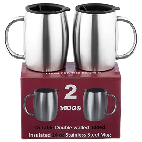 e930e4824f1 Stainless Steel Coffee Mugs with Lids - SUPERIOR Quality Steel - Double  walled Insulated Cups - Set of 2 by Drogo - 14 Oz 18/8 Travel Mug - Healthy  ...