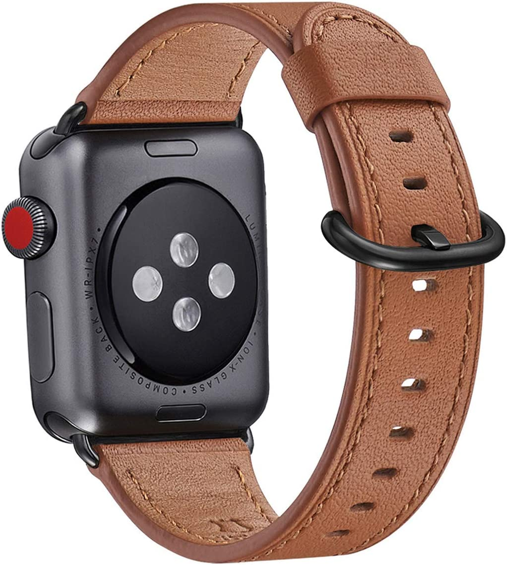WFEAGL Compatible iWatch Band 38mm 40mm, Top Grain Leather Bands of Many Colors for iWatch SE & Series 6,Series 5,Series 4,Series 3,Series 2,Series 1 (Brown Band+Black Adapter, 38mm 40mm)
