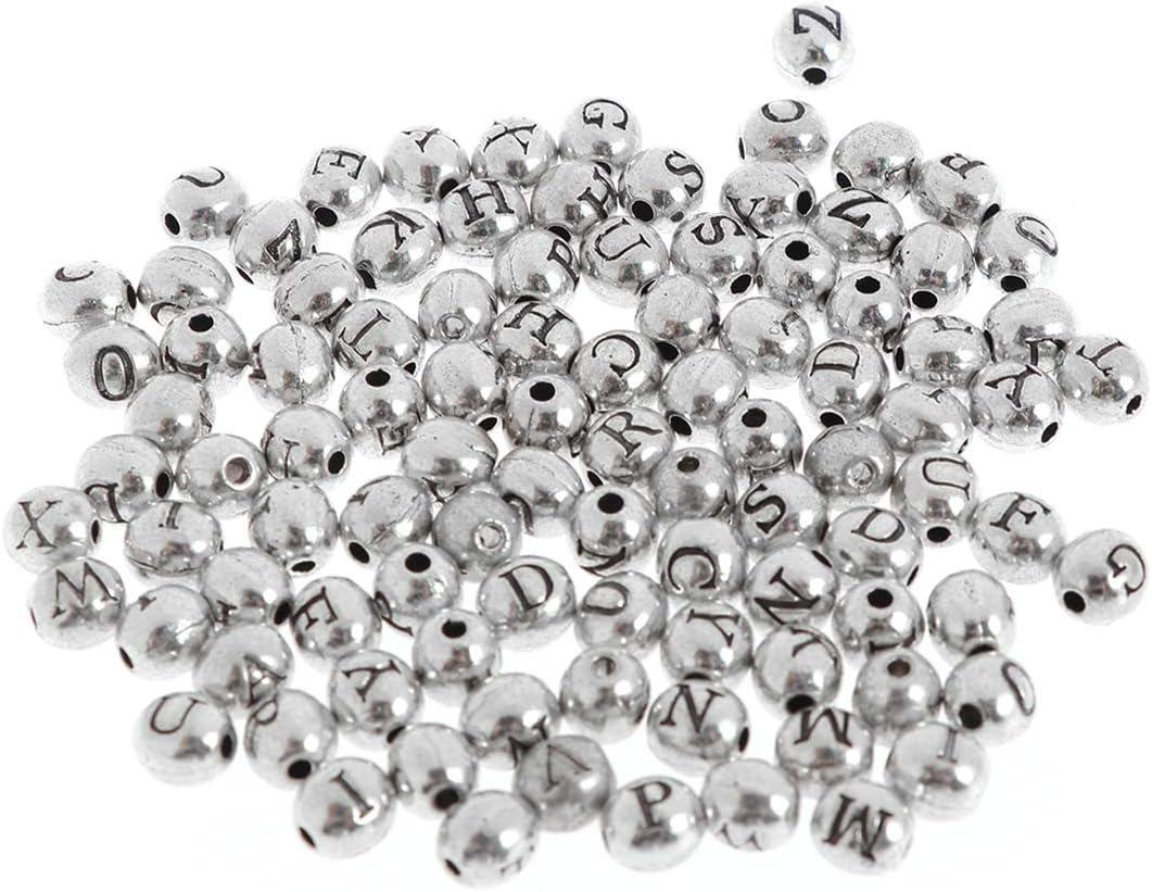 lettera casuale SUPVOX 100pcs Alfabeto Perline metallo per per fare braccialetti gioielli