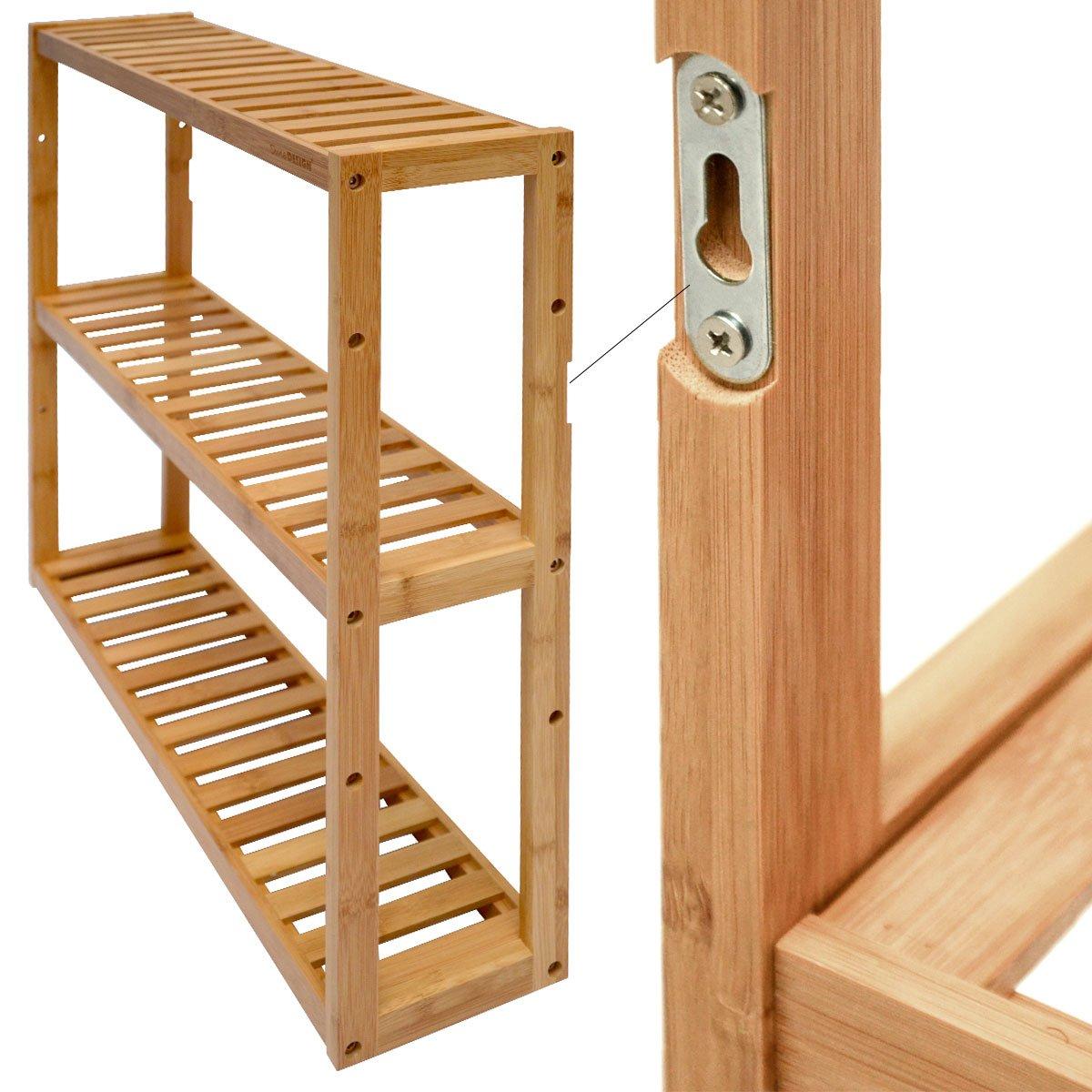 Dunedesign Wandregal 54x60x15cm Bambus Bad Regal 3 F A Cher Holz