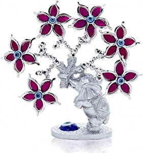 YU FENG Turkish Blue Evil Eyes Money and Evil EyeTree with Red Flowers and Silver Branches for Home Decorations