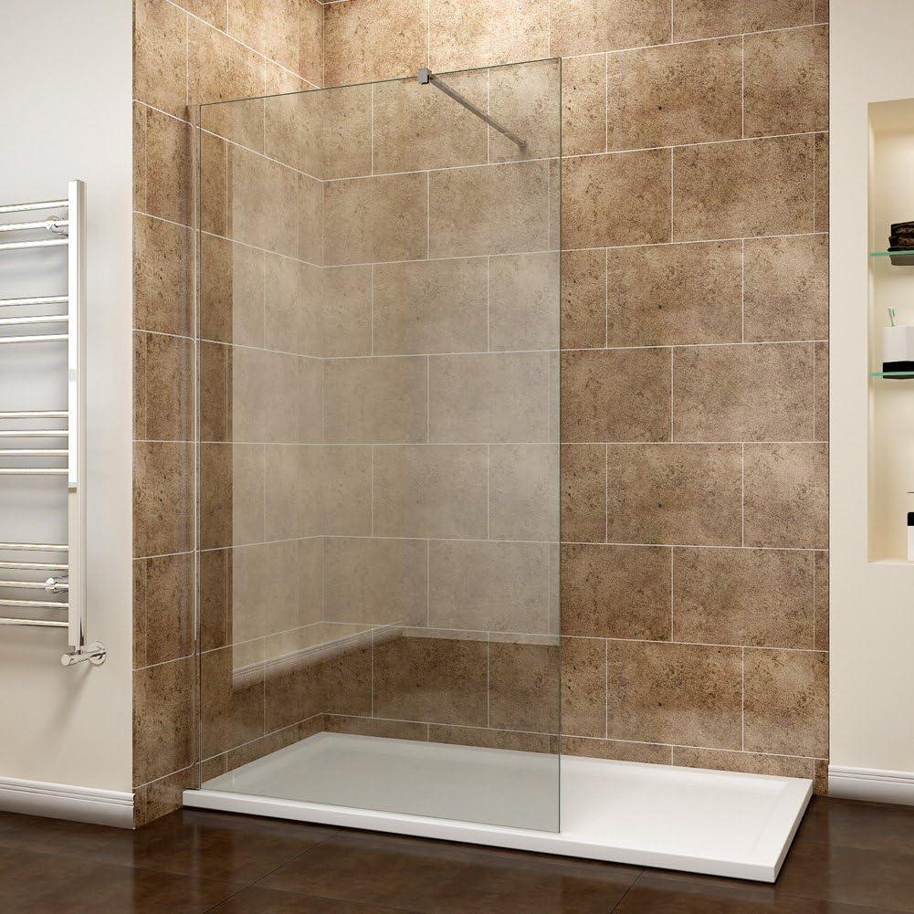 1100 mm Walk In de ducha 8 mm easy clean vidrio mojado habitación de ducha panel con ducha 1200 x 700 mm bandeja y residuos: Amazon.es: Bricolaje y herramientas