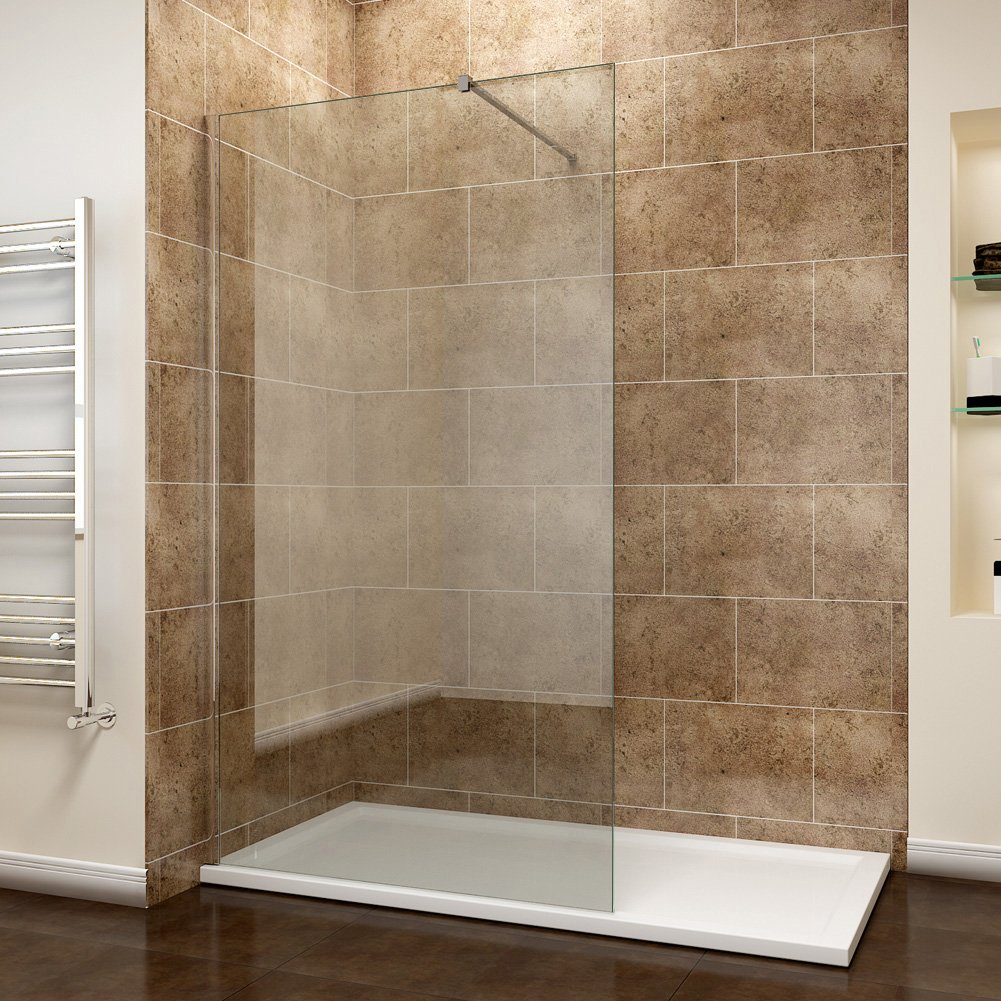 ELEGANT 900mm Walk In Wetroom Shower Enclosure 8mm Easy Clean Glass Frameless Shower Screen Panel Support Bar
