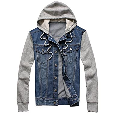 ede6d58f369 Thadensama Denim Jacket Men Hooded Sportswear Outdoors Casual Fashion Jeans  Jackets Hoodies Cowboy Mens Jacket And
