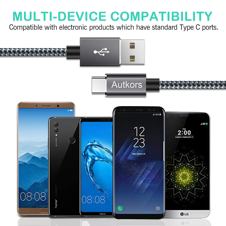 2 St/ück 2M LG und mehr Nylon USB C Ladekabel Schnelles Aufladen Datenkabel f/ür Typ-C Ger/äte Inklusive Samsung Galaxy Autkors USB C Kabel, MacBook