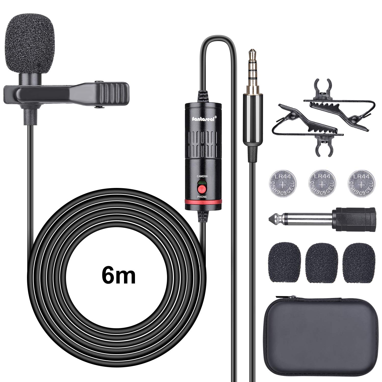 We-Media - Micrófono de Solapa para cámara réflex Digital (2 en 1 ...