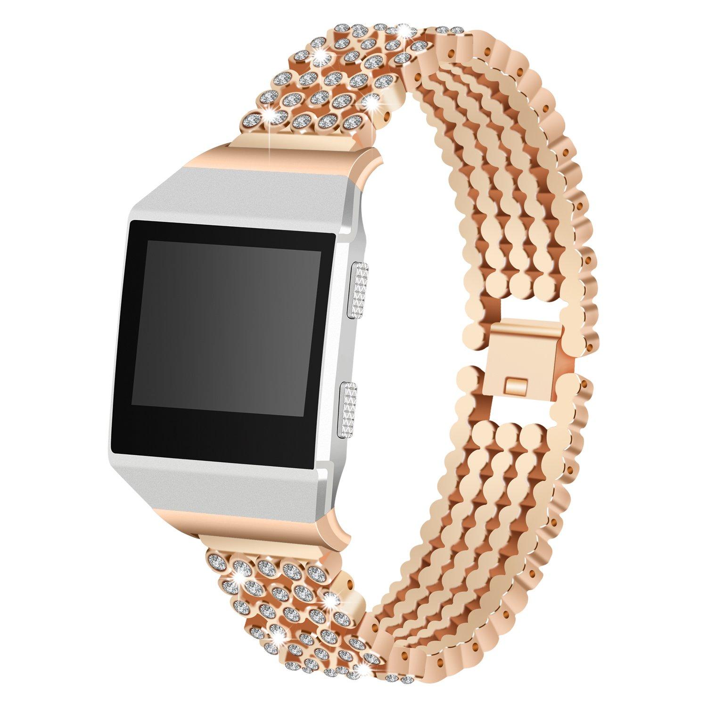 For Fitbit Ionic手首バンド、ステンレススチール交換用バンドwith Blingダイヤモンドラインストーンジュエリーストラップfor Fitbit Ionic B079M466CW ローズゴールド ローズゴールド
