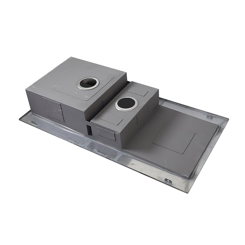 ENKI /Évier poser r/éversible 1 bac et demi carr/é avec /égouttoir acier inoxydable