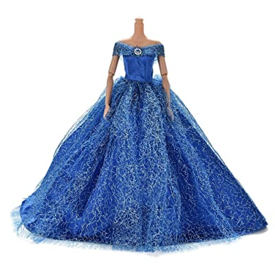 JiaUfmi 1pcs Fashion Dolls Dresses Wedding Trailing Skirt Dress Clothes Blue: Toys & Games