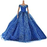 1pcs Fashion Dolls dresses Wedding Trailing Skirt Dress clothes Blue