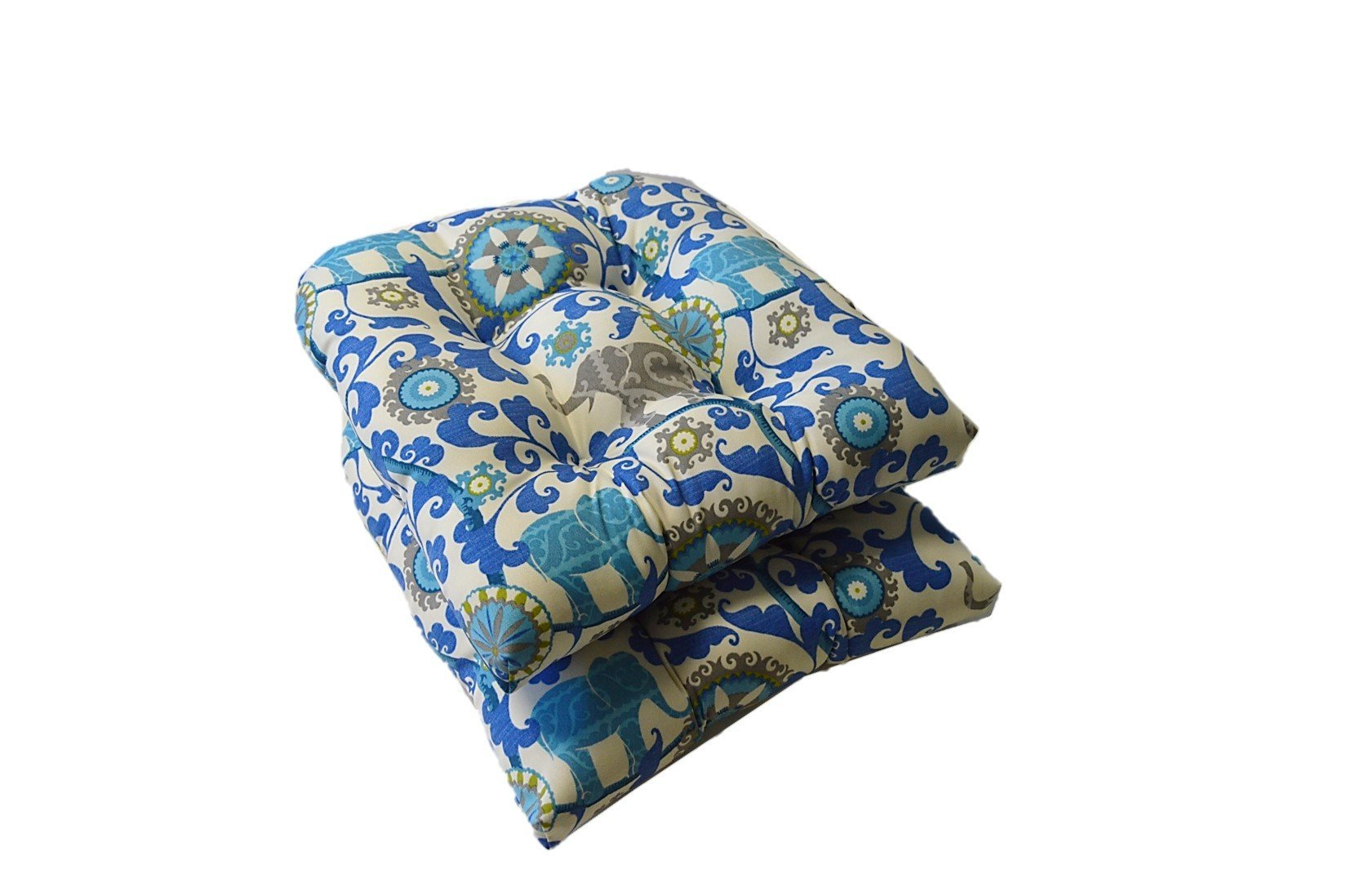 Set of 2 - Universal Tufted U-shape Cushions for Wicker Chair Seat - Sapphire Blue, Turquoise, Green, Gray Bohemian Elephant