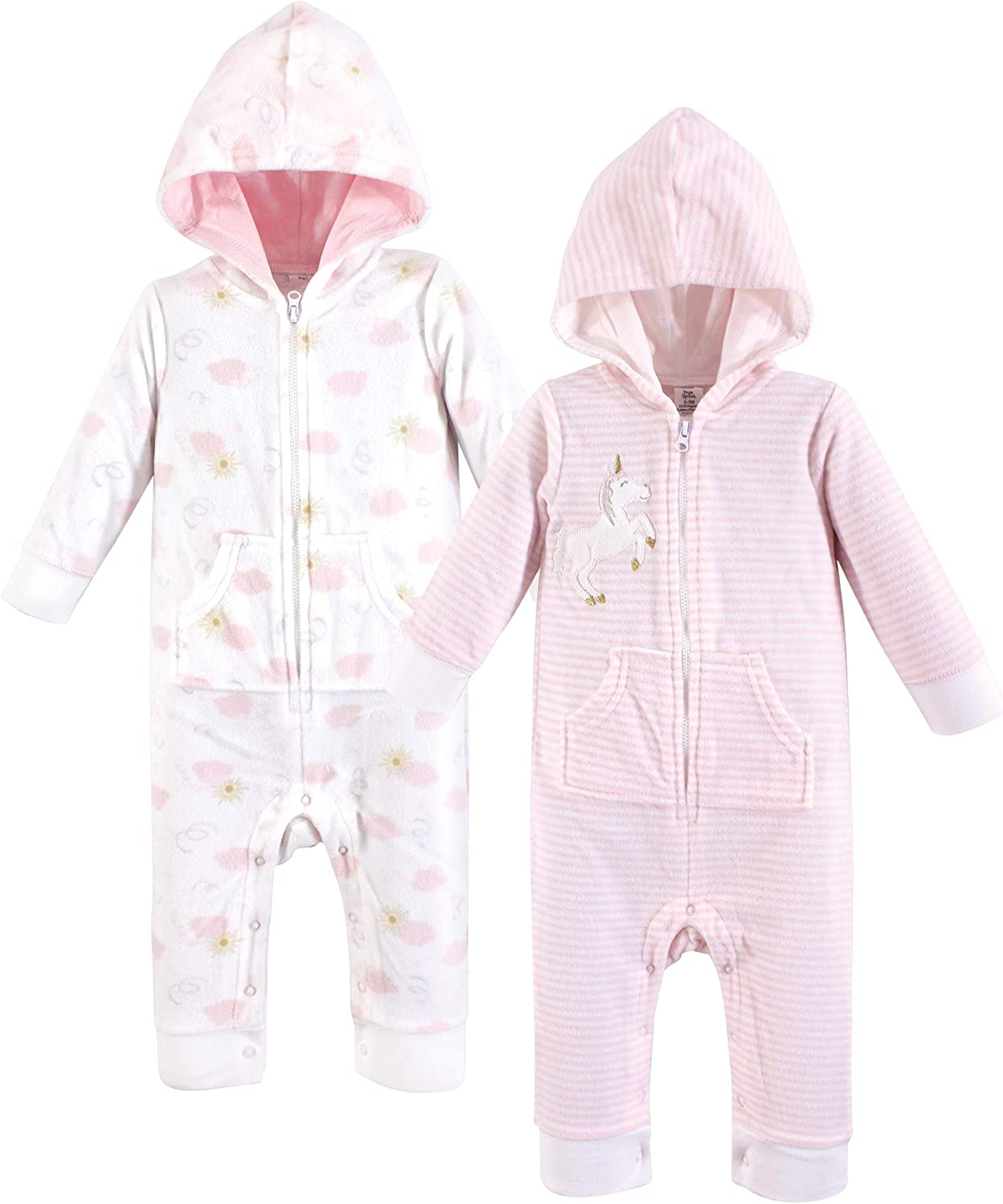 Yoga Sprout Baby Girls Hooded Fleece Jumpsuits