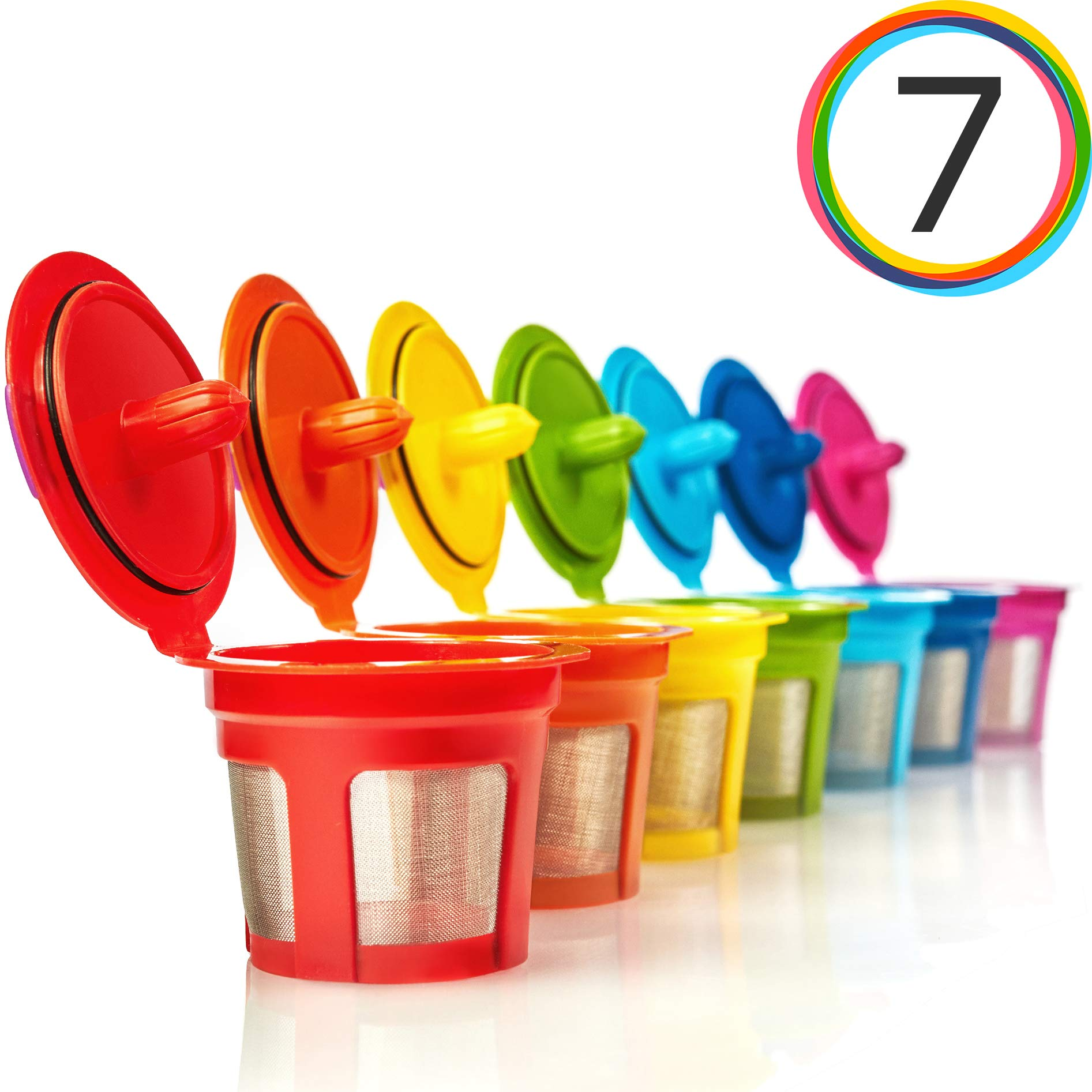 GoodCups 7 Reusable Rainbow Colors K Cups Refillable KCups Coffee Filters for Keurig 2.0, K200, K250, K300, K350, K400, K450, K460, K500, K550, K560 and 1.0 Brewers