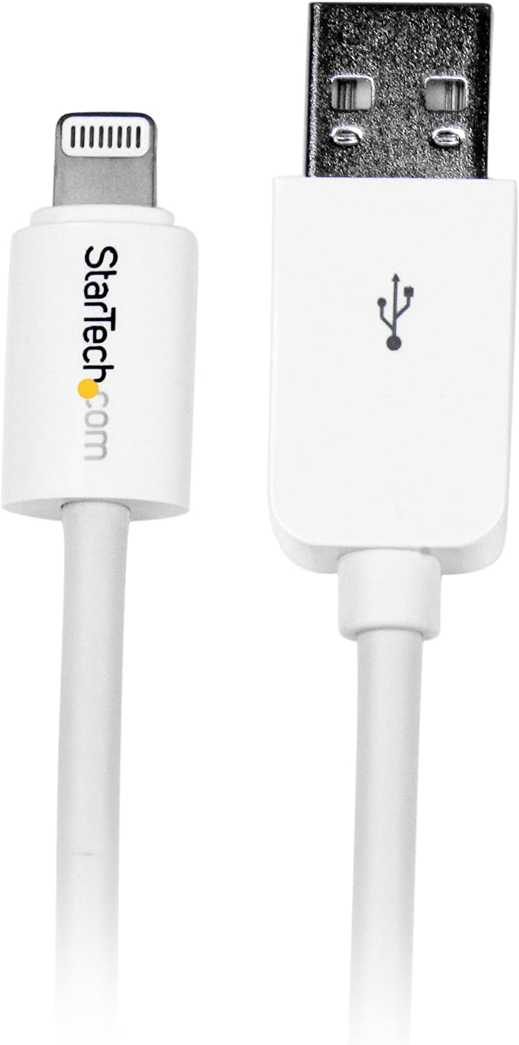 StarTech.com 3m (10ft) Long White Apple 8-pin Lightning Connector to USB Cable for iPhone / iPod / iPad - Charge and Sync Cable (USBLT3MW)