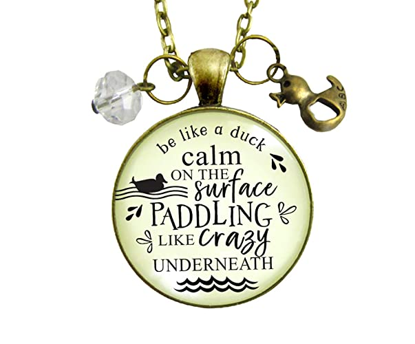 Amazoncom 24 Inspirational Necklace Be Like A Duck Calm Paddling