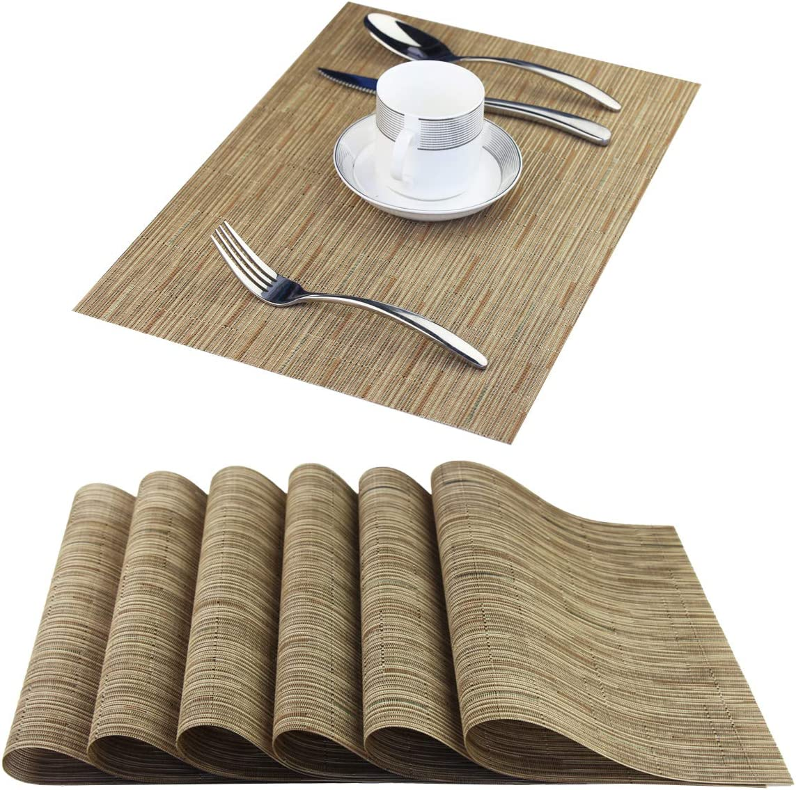 BeChen Placemats,Washable Woven Vinyl Placemats for Dining Table,Easy to Clean Plastic Placemats, Set of 6(Dark Beige)