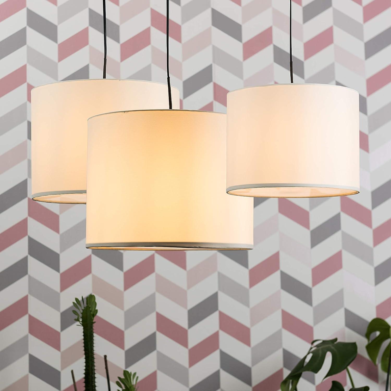 3er Set Moderne Lampenschirme in Zylinderform mit einem cremefarbenen Finish /& einem Lichtzerstreuer f/ür H/änge-//Pendelleuchte MiniSun