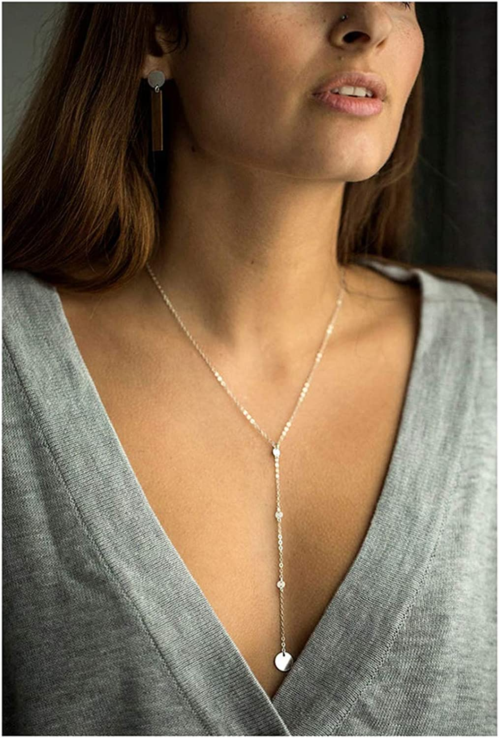 Y Necklace Dainty Disc Pendant Necklace CZ Long Lariat Chain Jewelry for Women