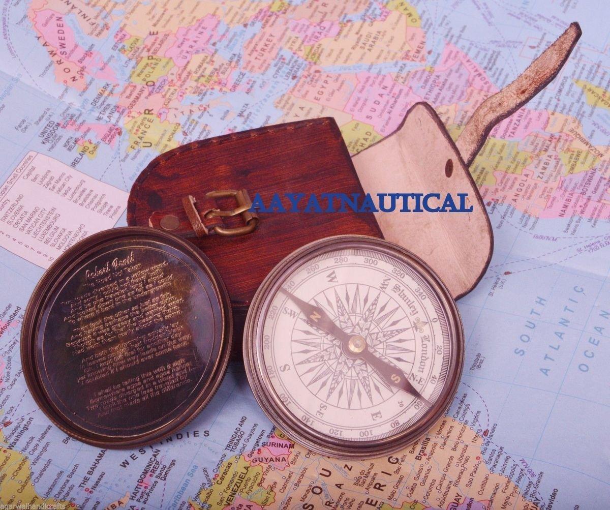 美しいNautical真鍮詩ロバートフロスト詩Engraved Compassソリッド真鍮 B073VH6VX8